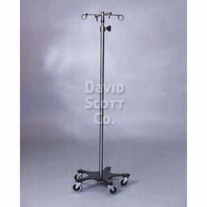 Stainless Steel IV Pole with 5 legs and a powder coated base weighted base