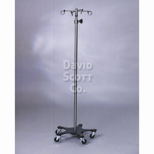 DSC-015-4 Stainless Steel 4-Hook IV Pole with 5 legs and a powder coated base weighted base