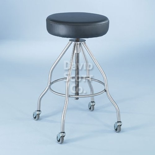 7714-pss Stainless Steel Adjustable Stool 14″ fully padded seat with casters