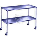 "SST2448-S-GR Stainless Steel Table 24""W x 48""L x 34""H with lower shelf and 3 top rails"