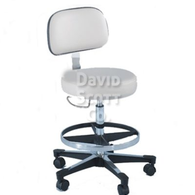 ST-1212-B 5- Leg Deluxe Pneumatic Lab Stool w/ Backrest- Hand Trigger Adjusts Seat