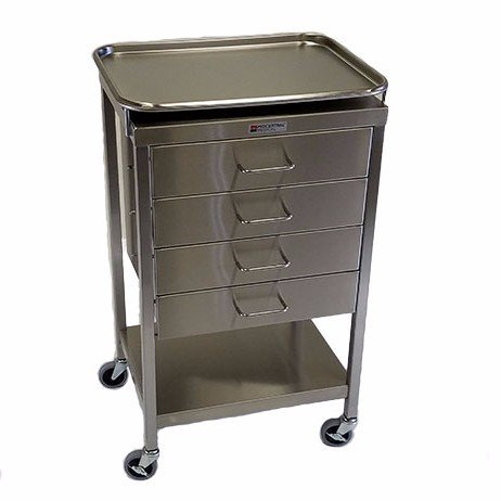 Stainless Steel Anesthesia Cart 4 Drawer David Scott Company