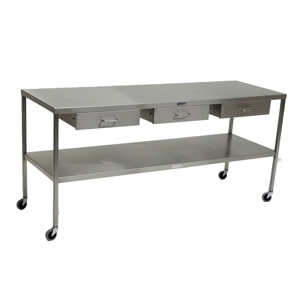 Stainless Steel Instrument Back Table With Drawers