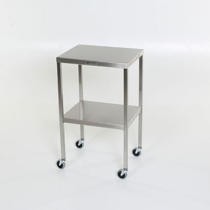 Instrument table with shelf, stainless steel back table