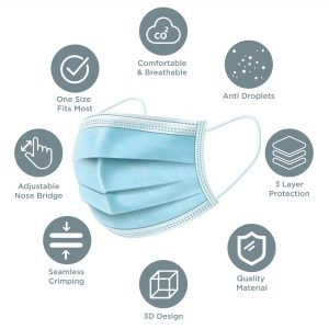 3- ply disposable mask box of 50